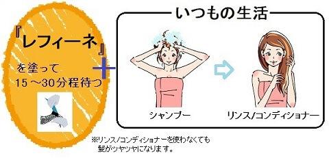 レフィーネの乾いた髪への使い方