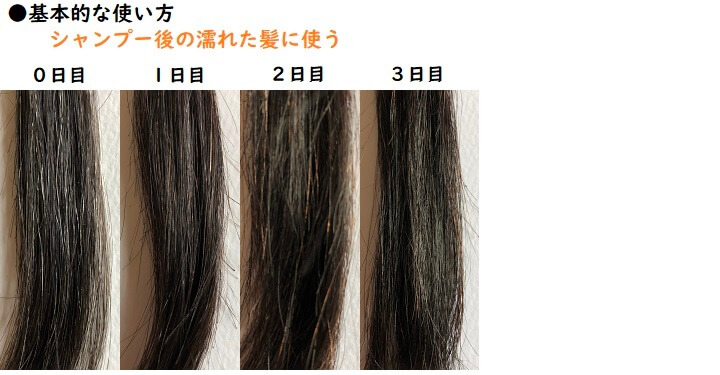 マイナチュレ白髪混じりの3日間分の染まり写真