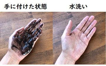 ビゲンカラートリートメントの手への付着と洗った結果の写真