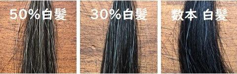 白髪混じり50%、30%、数本