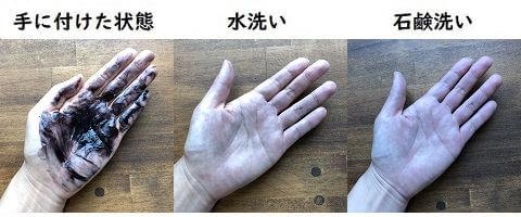 玉髪の手への付着と洗った結果の写真