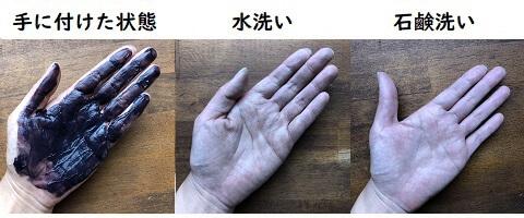ルシード ボリュームアップカラートリートメントの手への付着と洗った結果の写真