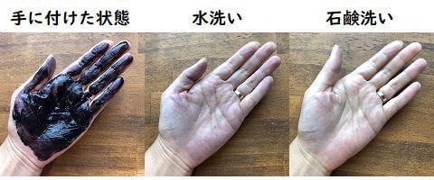 テンスターヘナカラートリートメントの手への付着と洗った結果の写真