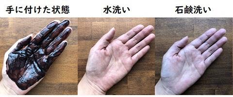 レフィーネの手への付着と洗った結果の写真