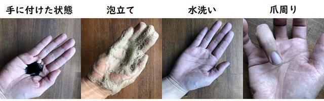 サロンドプロ ナチュラルグレイッシュ リンスインシャンプーの手への付着と洗った結果の写真