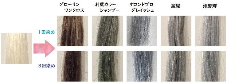 白髪染めシャンプー5商品の染まり写真