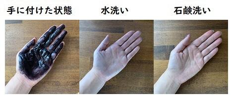 大島椿ヘアカラートリートメントの手への付着と洗った結果の写真